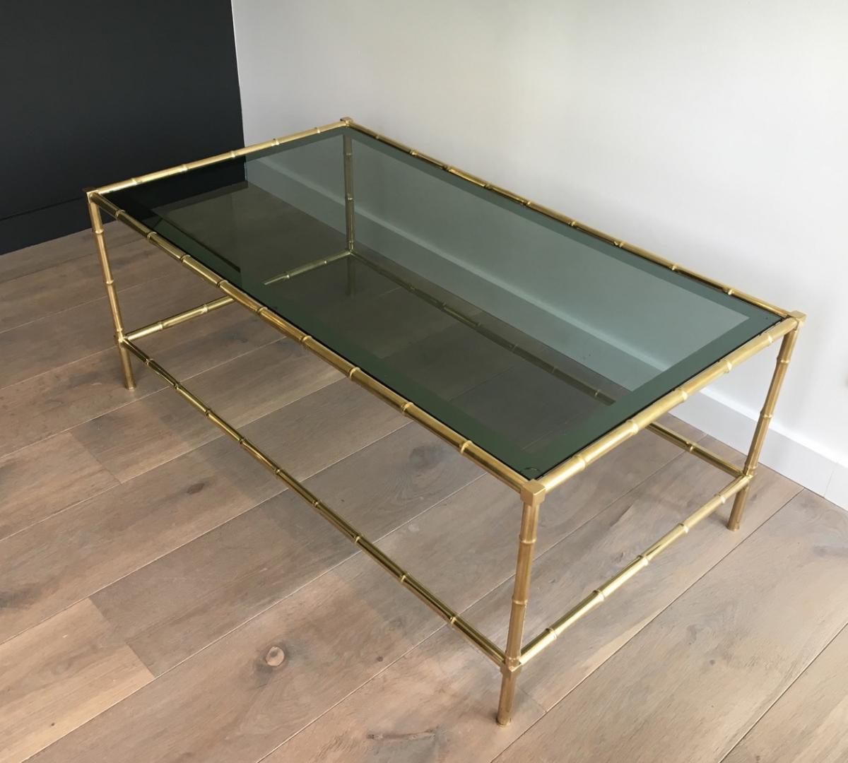 Table Basse Façon Faux-bambou En Laiton.