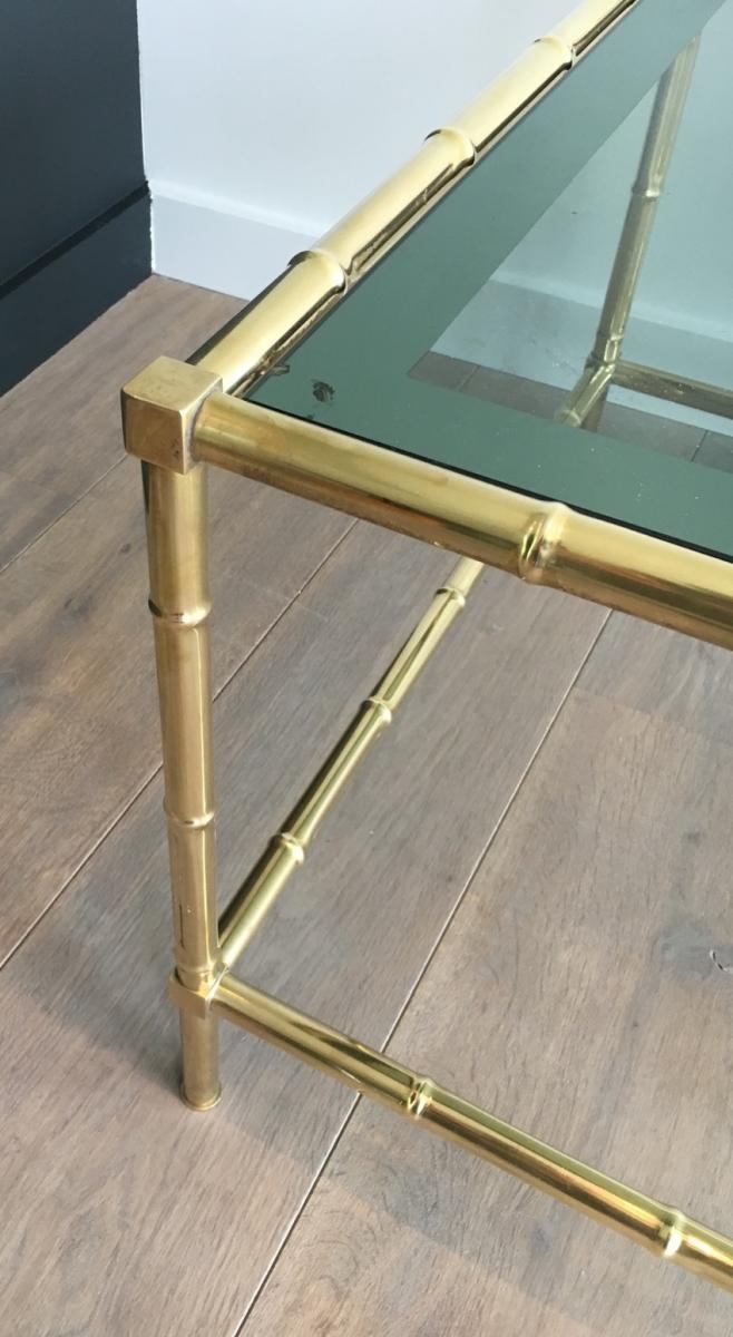 Table Basse Façon Faux-bambou En Laiton.-photo-3
