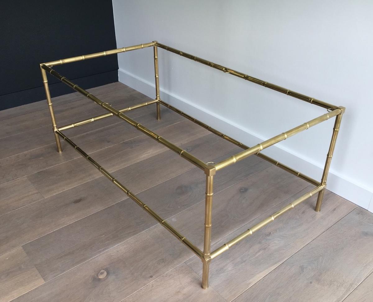 Table Basse Façon Faux-bambou En Laiton.-photo-2