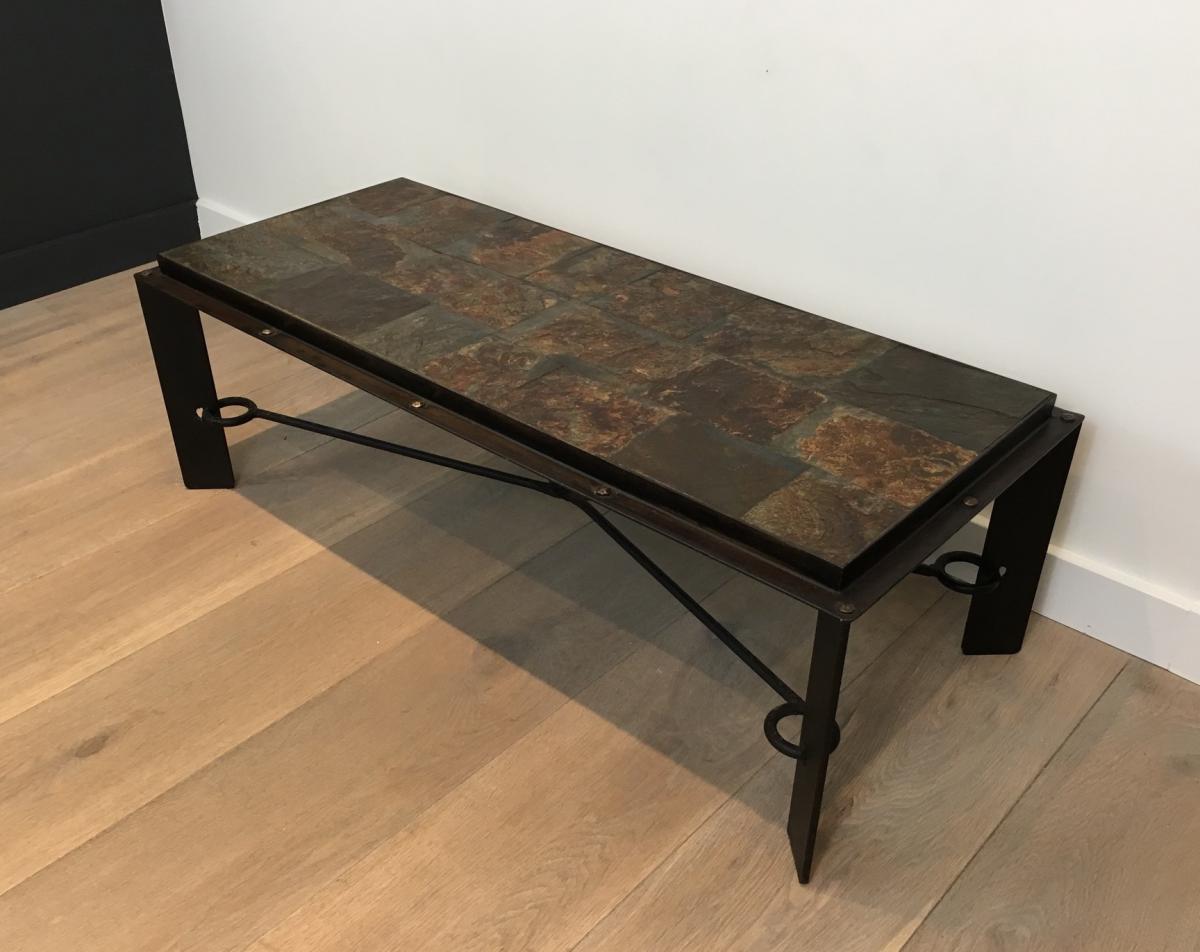 Rare Table Basse En Acier Et Fer Forgé à Plateau Composé De Pierres De Lave. Vers 1940