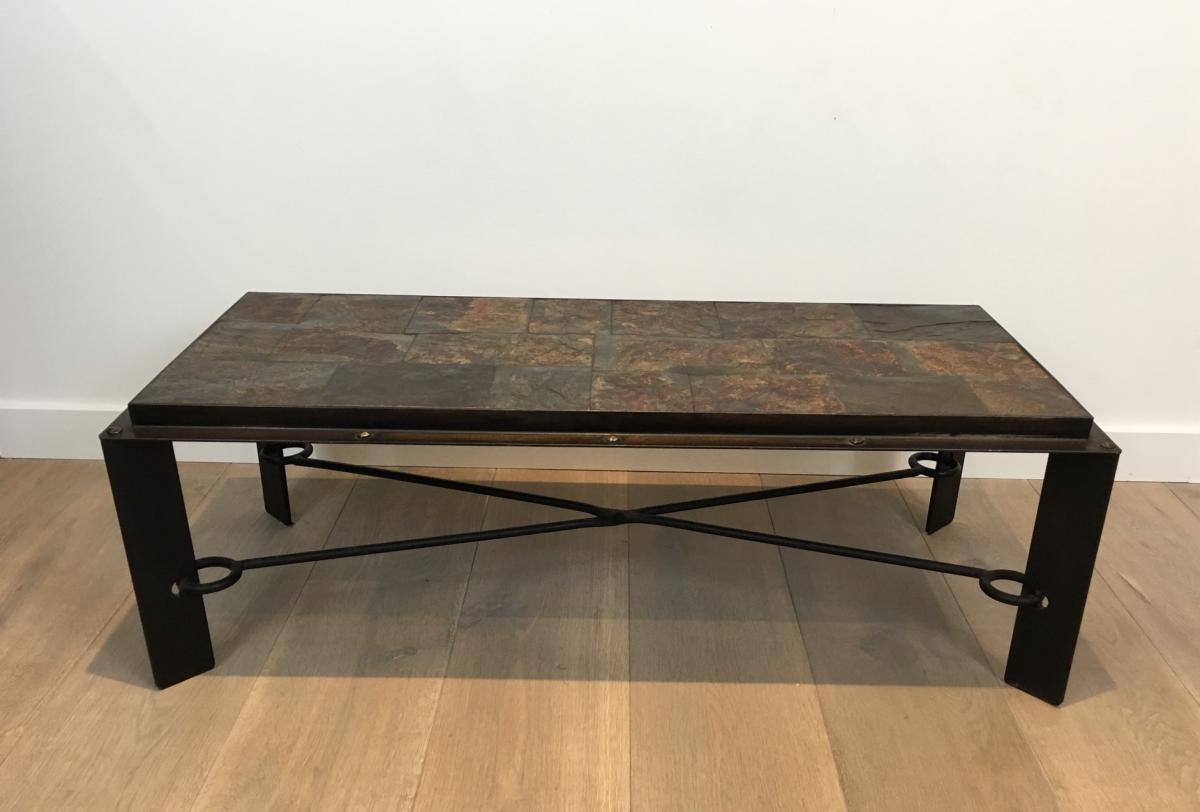 Rare Table Basse En Acier Et Fer Forgé à Plateau Composé De Pierres De Lave. Vers 1940 -photo-2