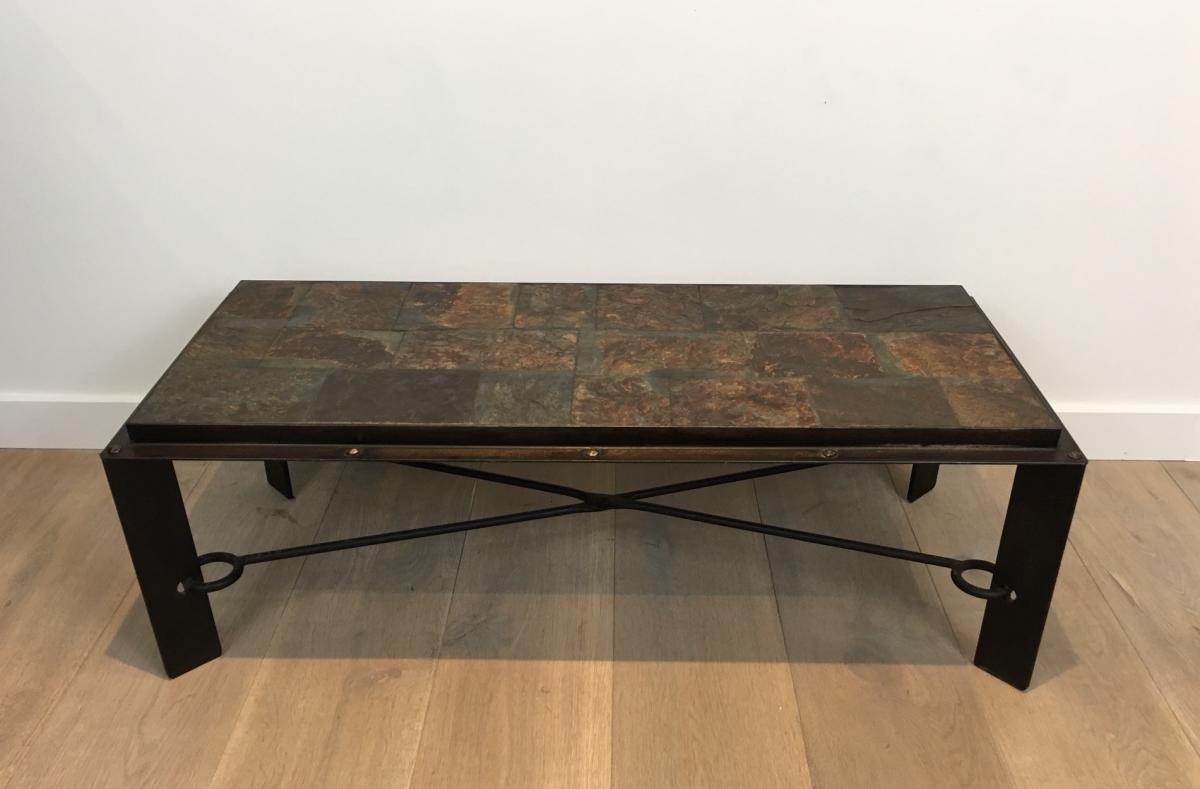 Rare Table Basse En Acier Et Fer Forgé à Plateau Composé De Pierres De Lave. Vers 1940 -photo-3