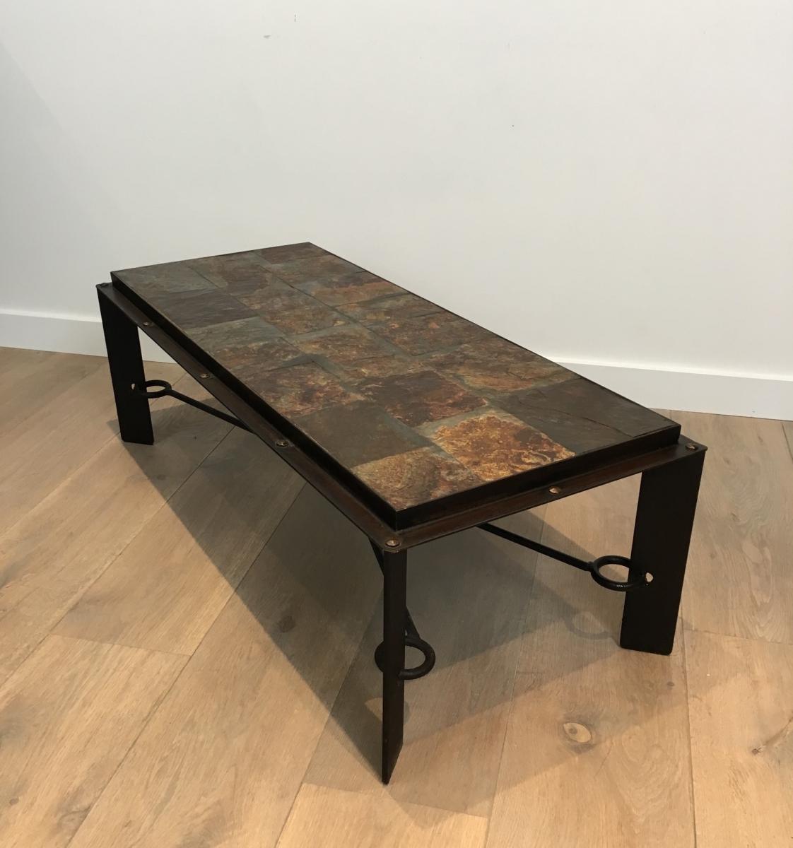 Rare Table Basse En Acier Et Fer Forgé à Plateau Composé De Pierres De Lave. Vers 1940 -photo-4