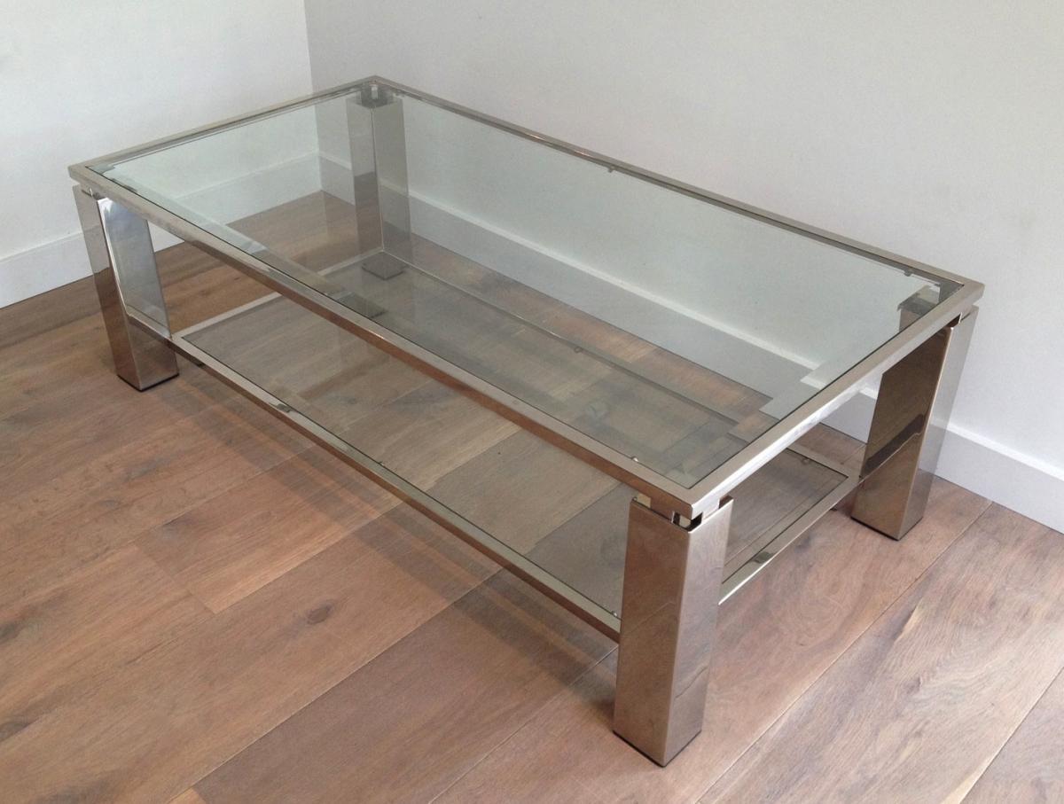 Table Basse Moderniste En Chrome. Vers 1970