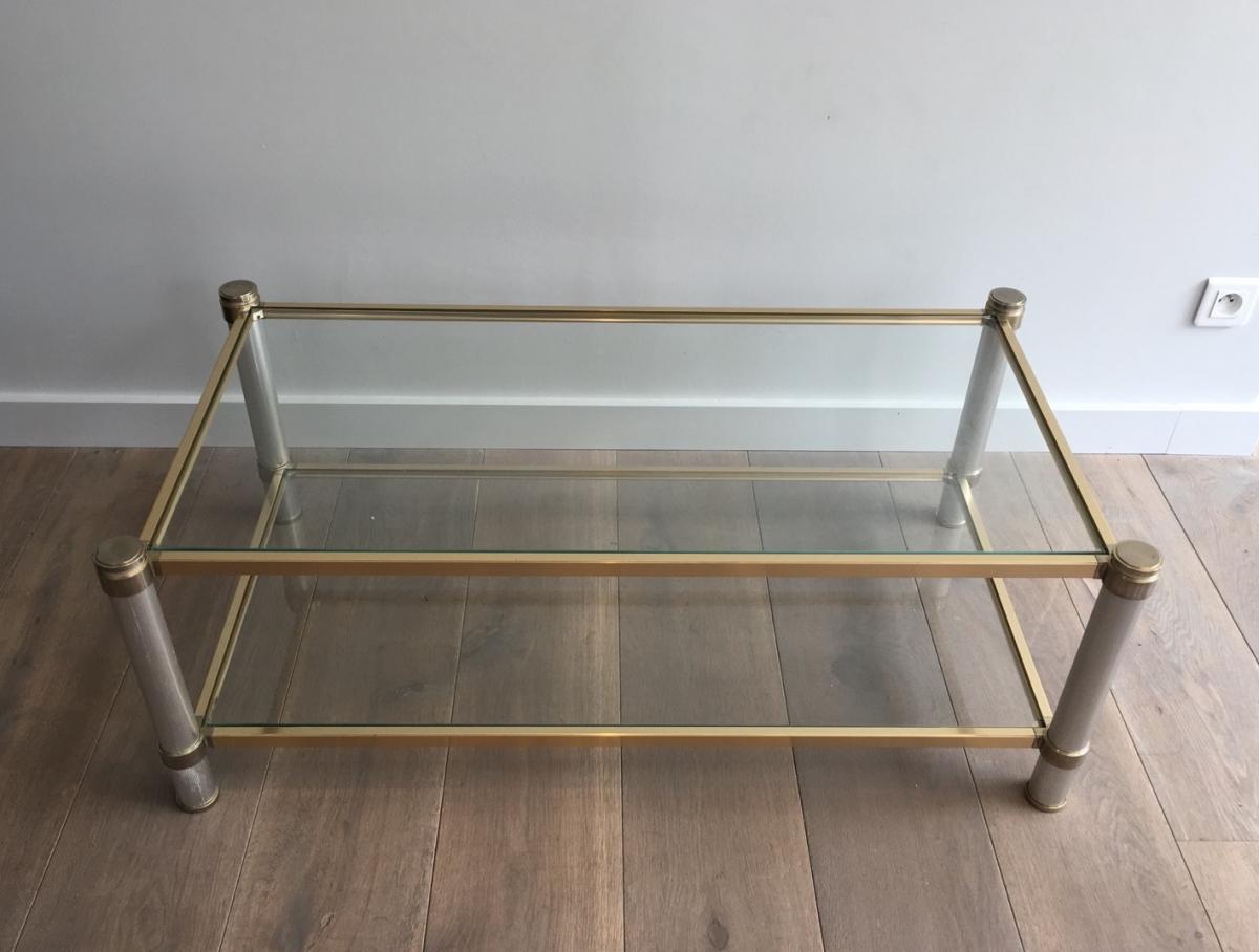Table Basse Dorée Et Couleur Argent En Aluminium.