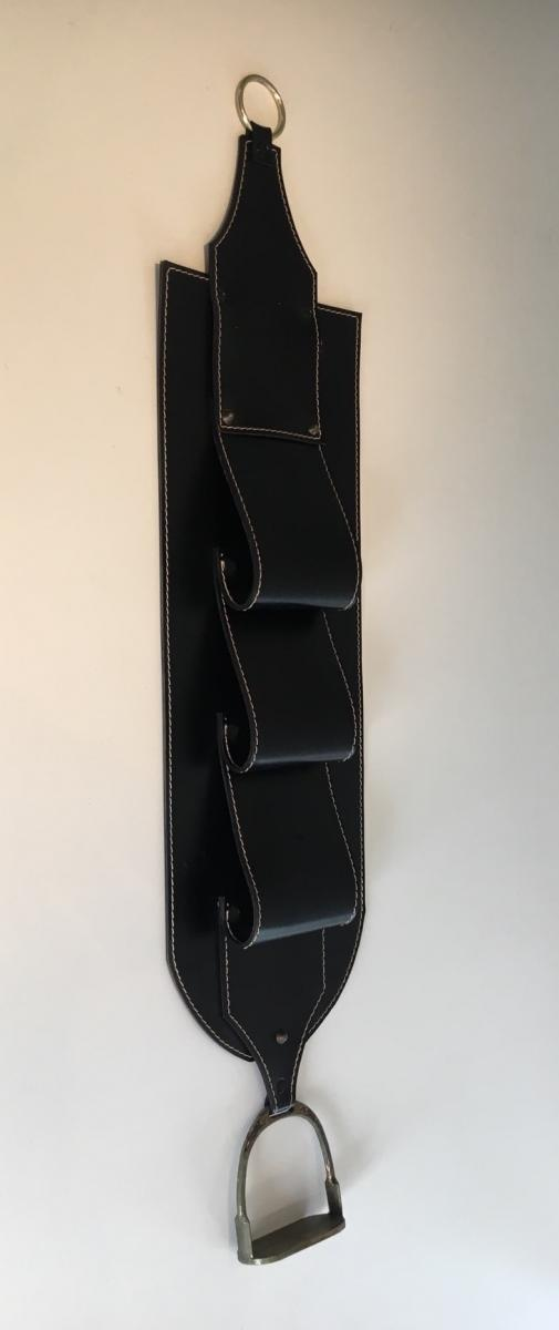 . Leather Wall Magazine Rack. Around 1950