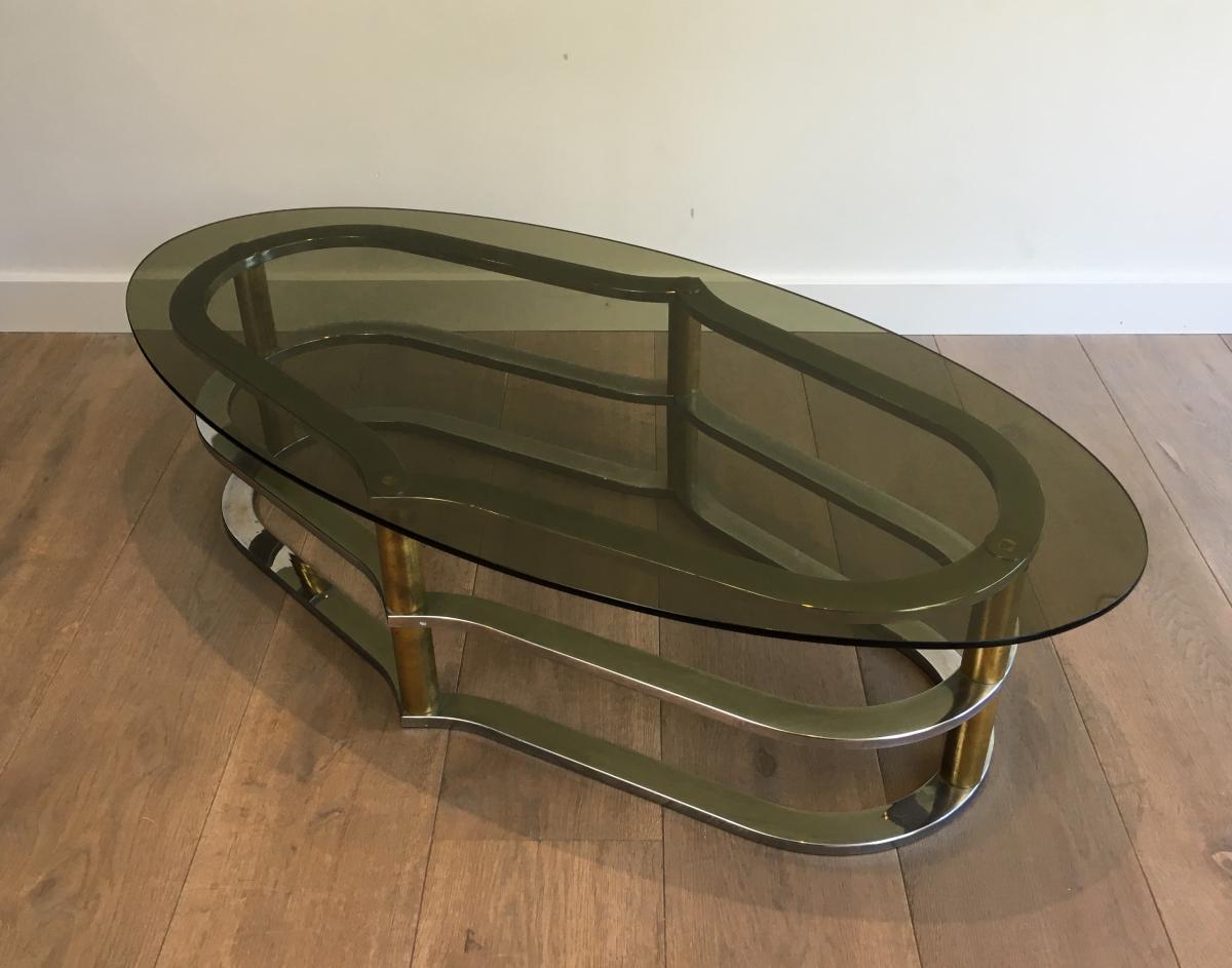 Table Basse Design En Laiton Doré Et Chrome;