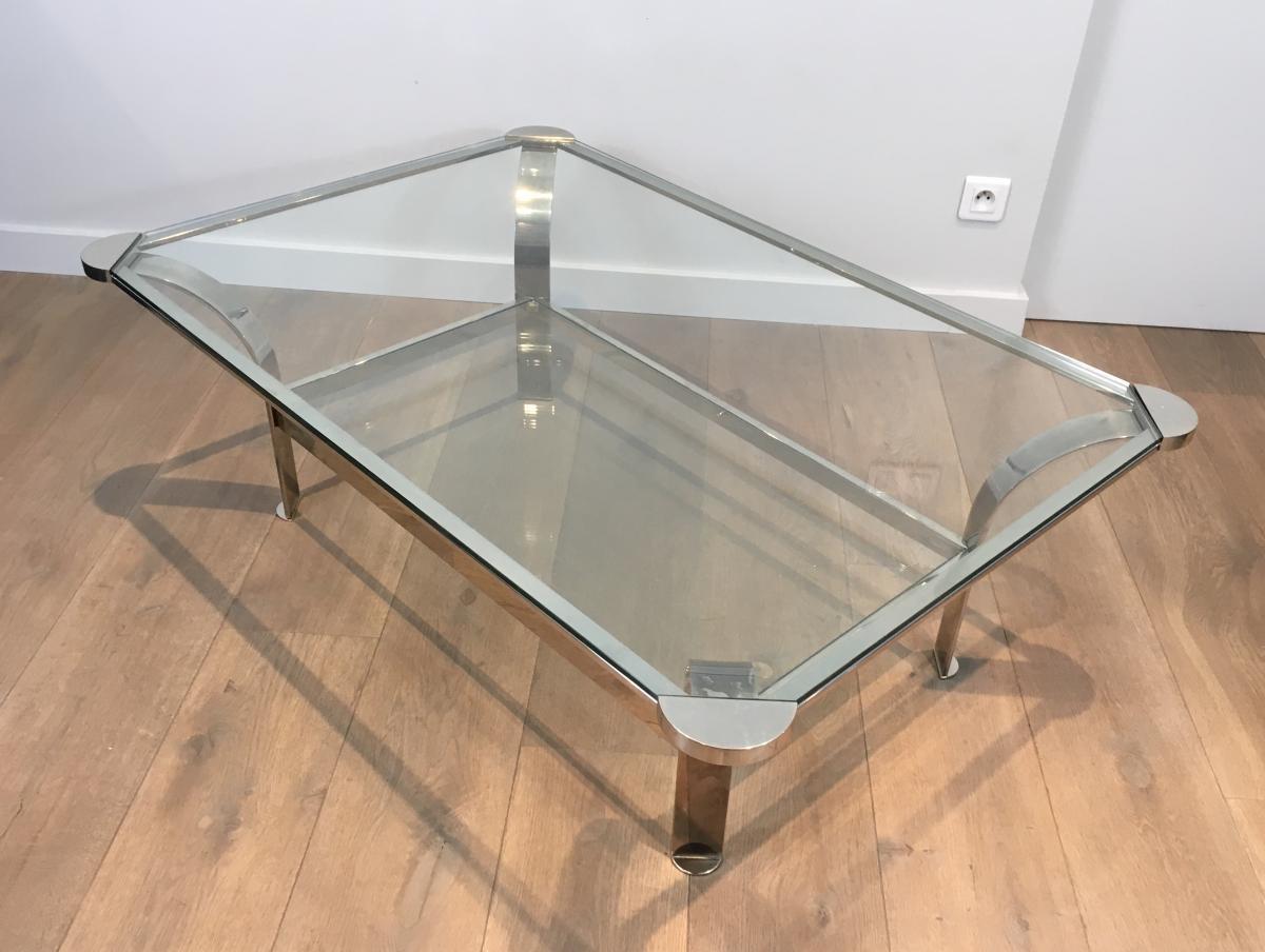 Importante Table Basse Design en Chrome et Plateaux de Verres. Vers 1970