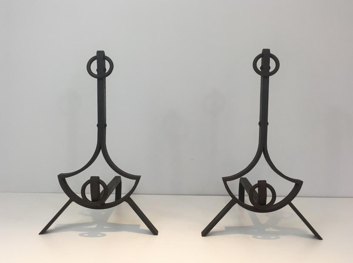 Pair Of Modernist Wrought Iron Andirons. French. Circa 1940