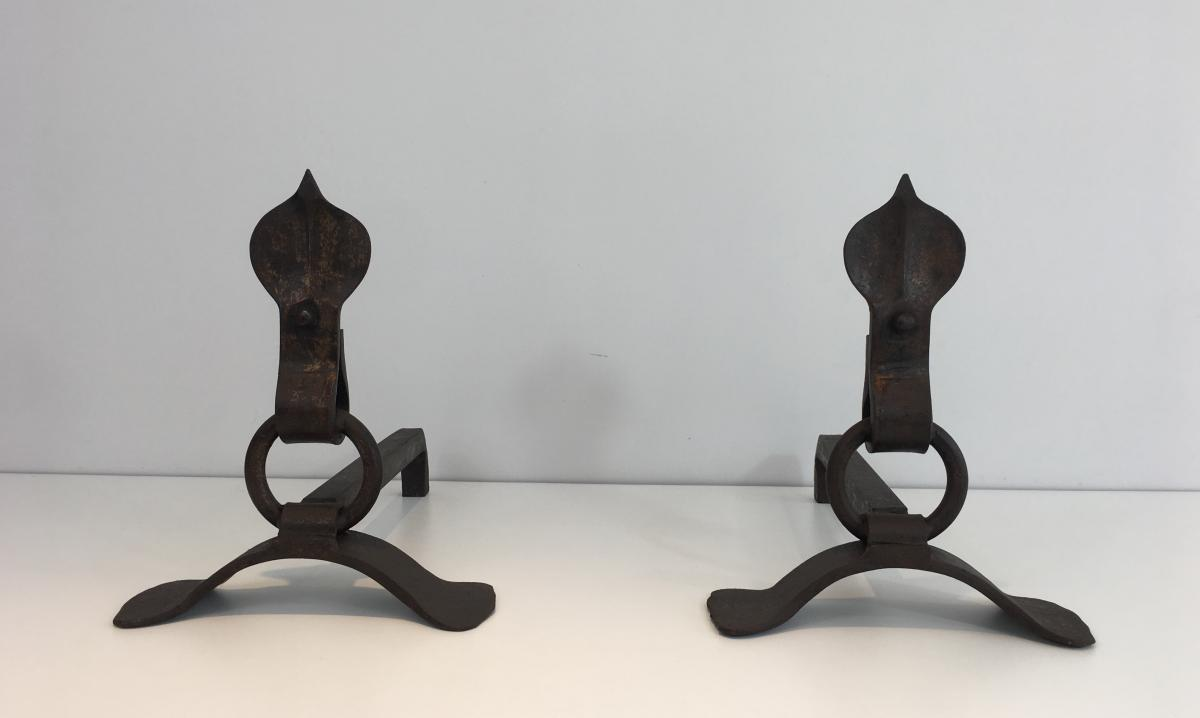 Paire De Chenets Modernistes En Fer Forgé. Vers 1940