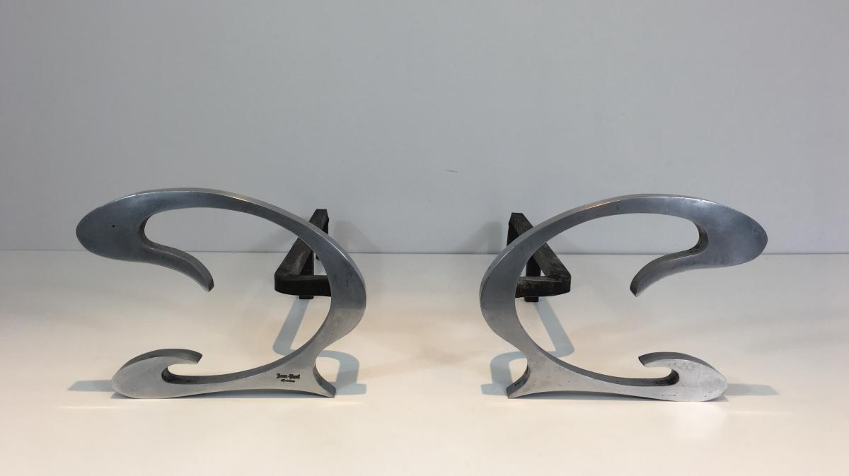 Pair Of Andirons Design Brushed Steel And Wrought Iron.