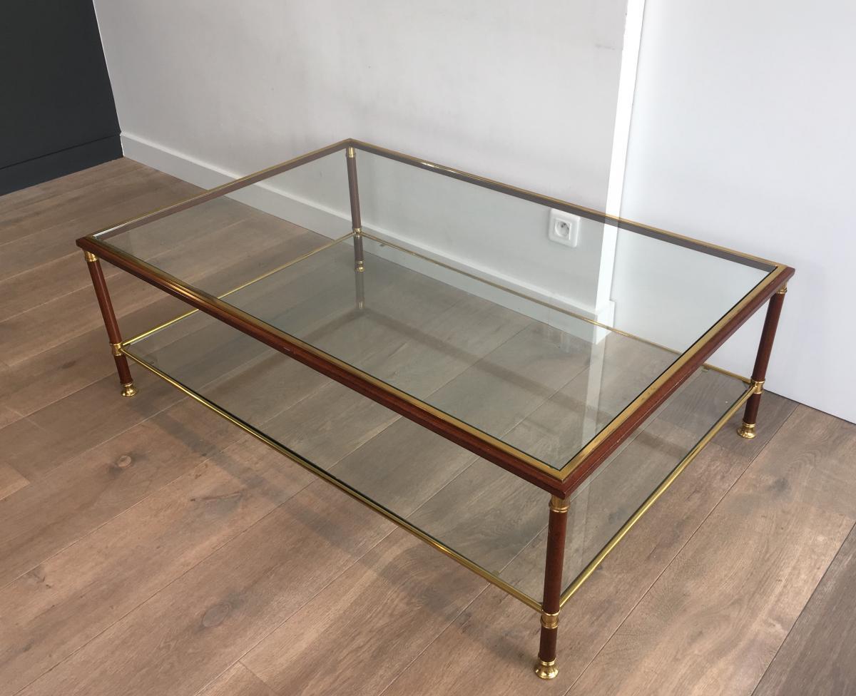 Elégante Table Basse Laquée Bordeaux Et Laiton. Vers 1960