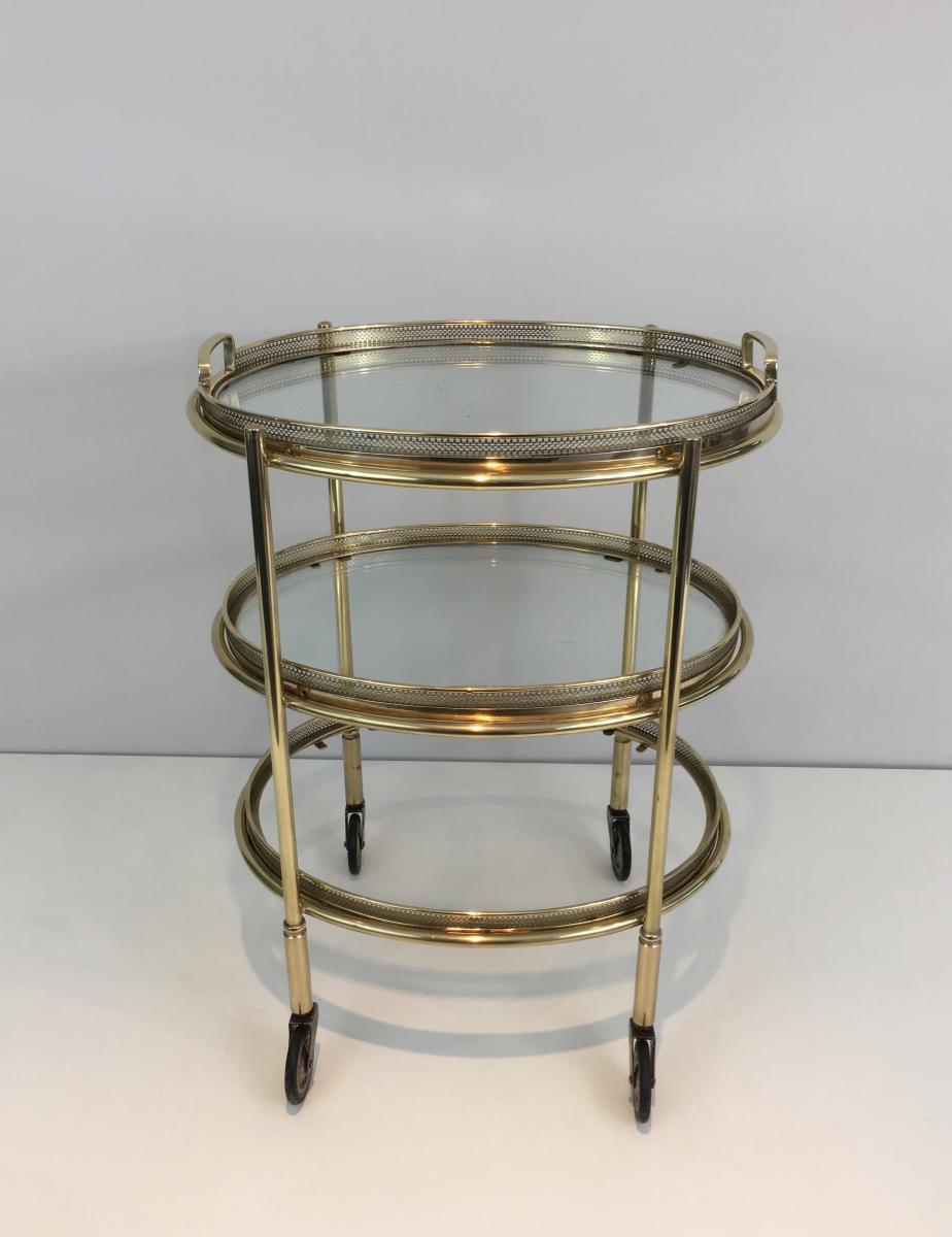 Petite Table Roulante Ovale En Laiton à 3 Plateaux Amovibles. Vers 1940