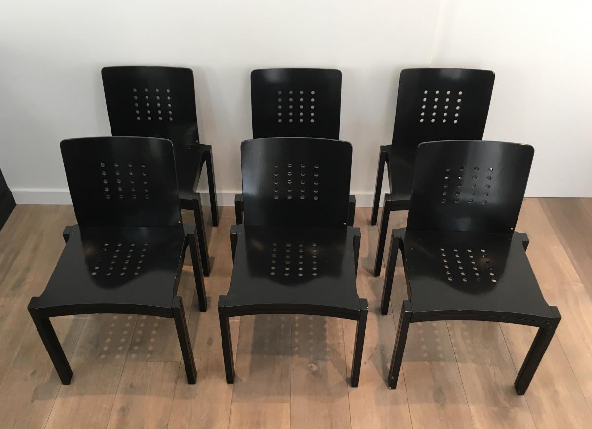 Thonet. Set Of 6 Rare Design Black Wood Chairs. These Are Stamped Thonet-vienna-1993