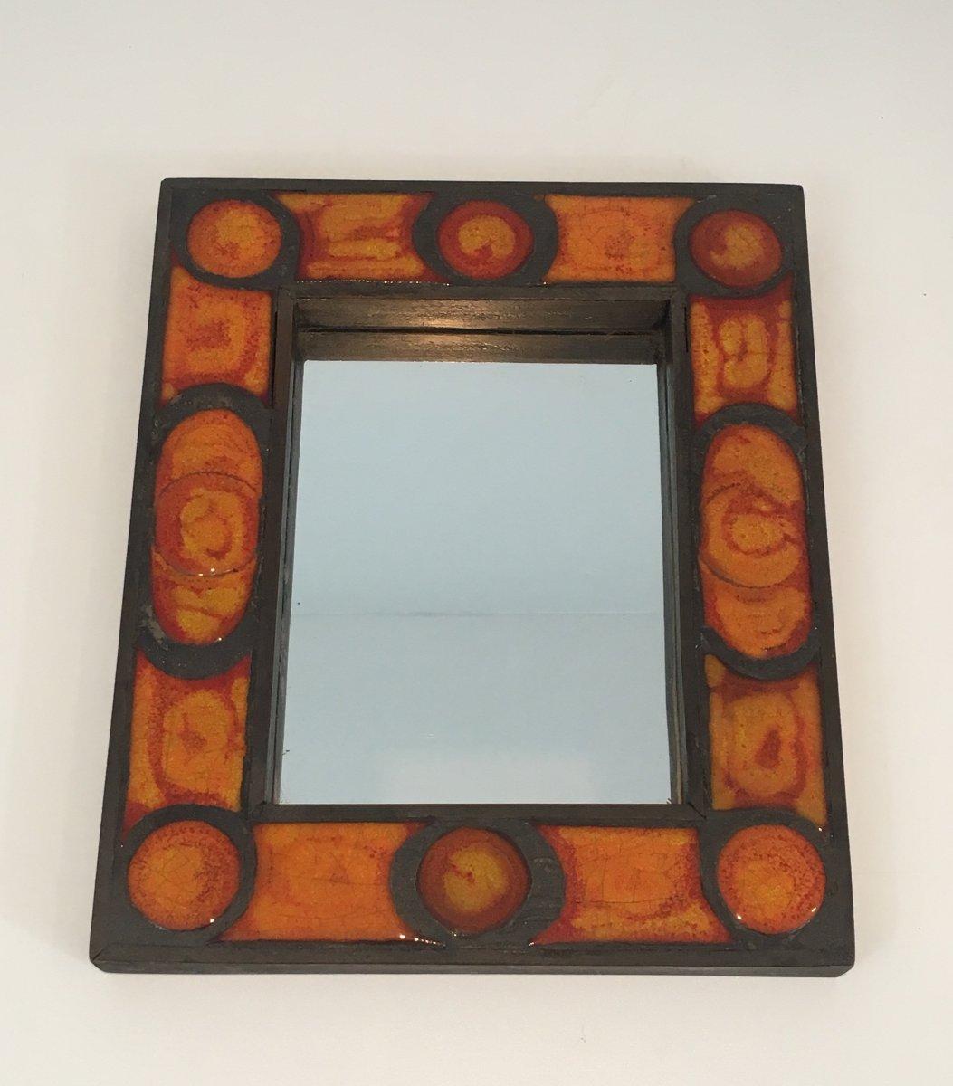 Interesting Ceramic Mirror. French. Circa 1970