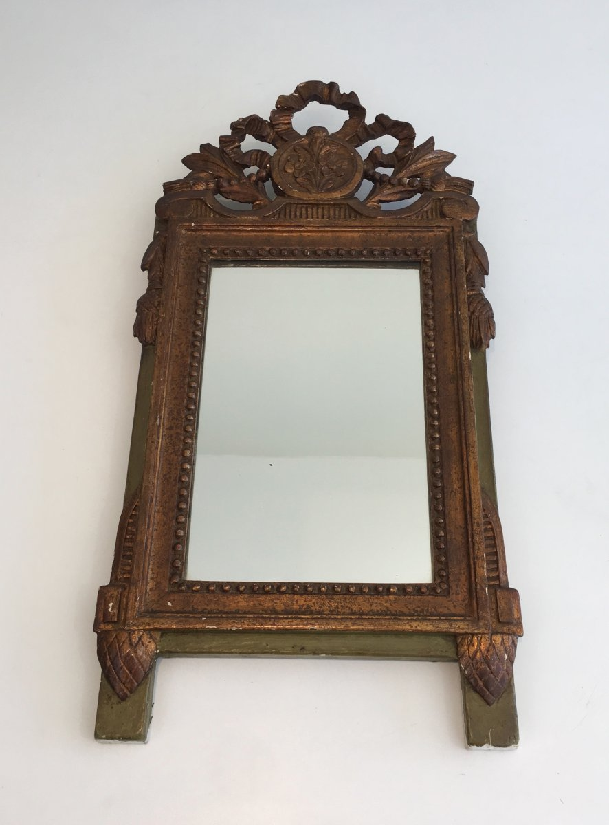 Louis The 16th Style Gilt And Painted Wood Mirror. French. 19th Century.