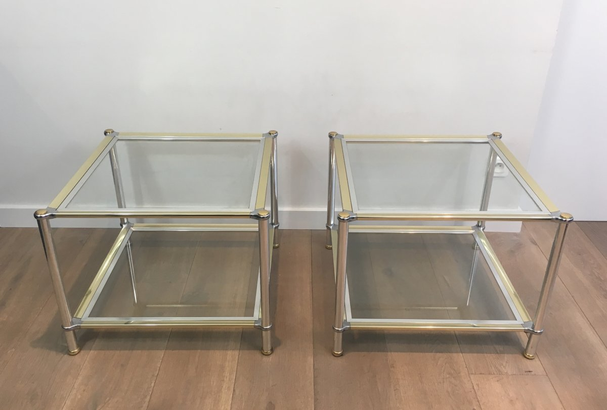 Pair Of Chrome, Gilt And Silver Métal Side Tables. French. Circa 1970