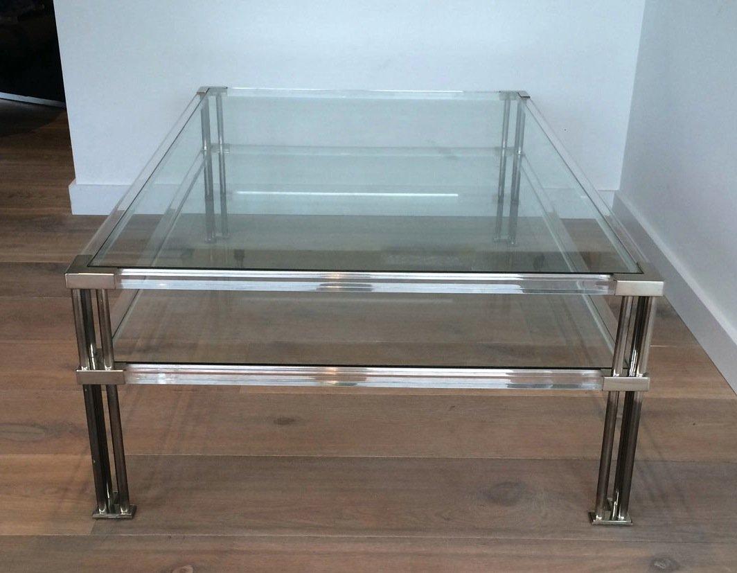 Grande Table Basse En Chrome Et Plexiglass. Vers 1970-photo-4