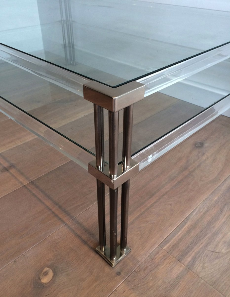 Grande Table Basse En Chrome Et Plexiglass. Vers 1970-photo-1