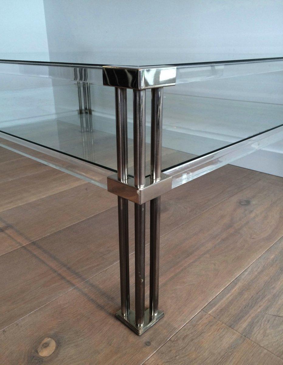 Grande Table Basse En Chrome Et Plexiglass. Vers 1970-photo-2