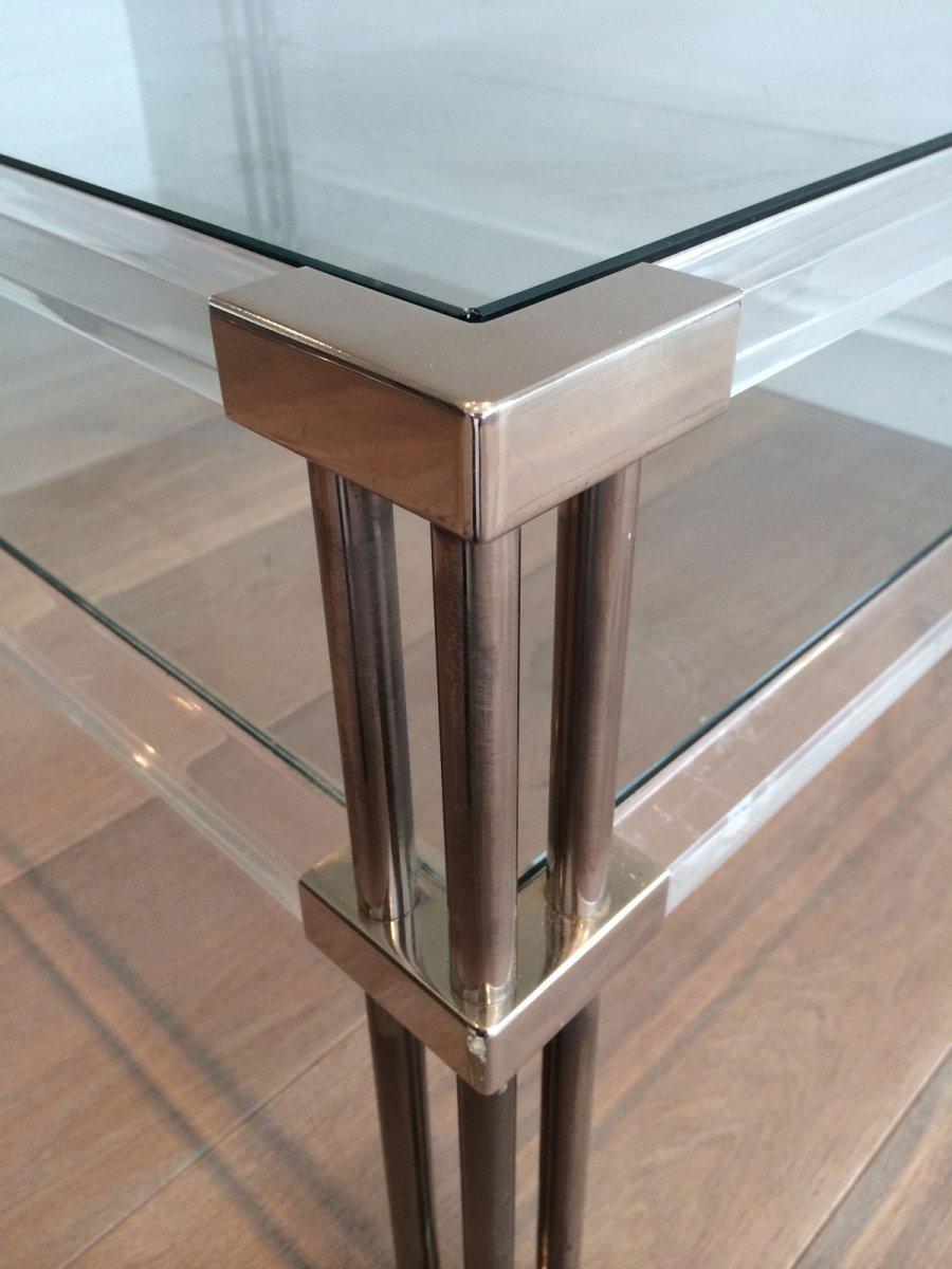 Grande Table Basse En Chrome Et Plexiglass. Vers 1970-photo-3