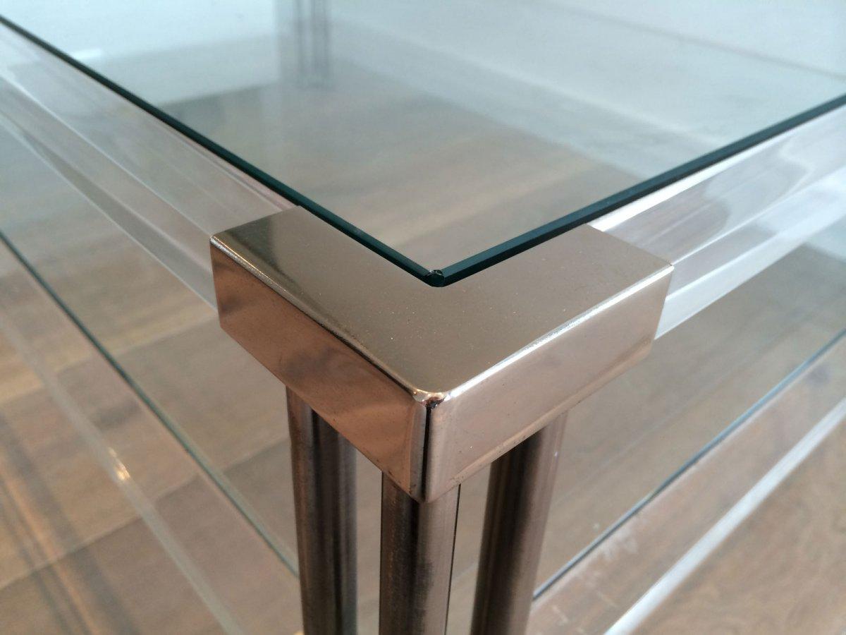 Grande Table Basse En Chrome Et Plexiglass. Vers 1970-photo-7