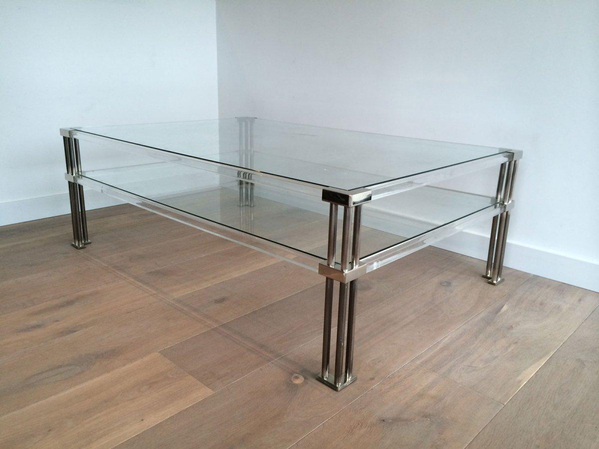 Grande Table Basse En Chrome Et Plexiglass. Vers 1970-photo-8