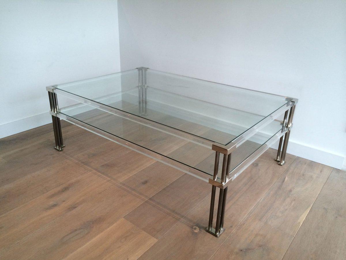 Grande Table Basse En Chrome Et Plexiglass. Vers 1970
