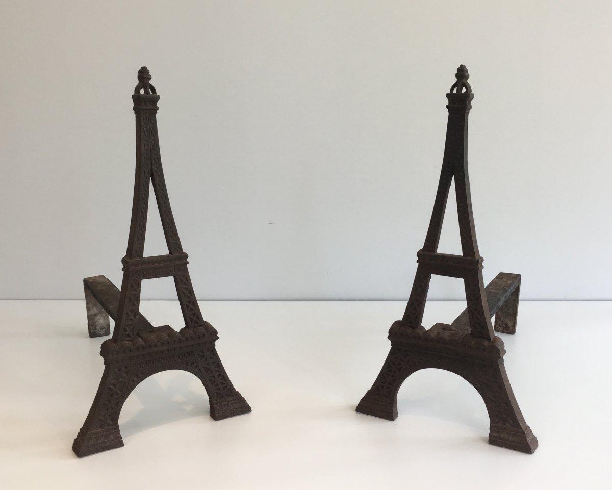 Paire De Chenets Tour Eiffel En Fonte. Vers 1900-photo-2