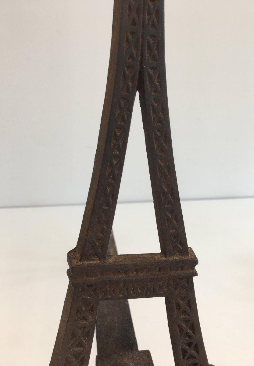 Paire De Chenets Tour Eiffel En Fonte. Vers 1900-photo-3