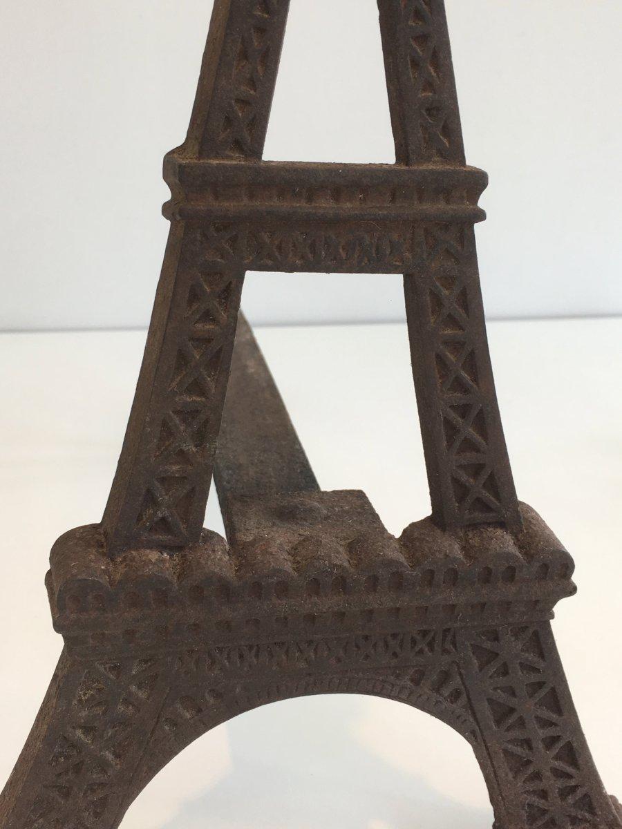 Paire De Chenets Tour Eiffel En Fonte. Vers 1900-photo-4