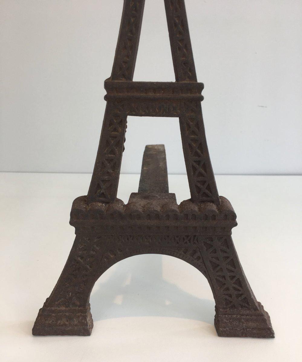 Paire De Chenets Tour Eiffel En Fonte. Vers 1900-photo-5