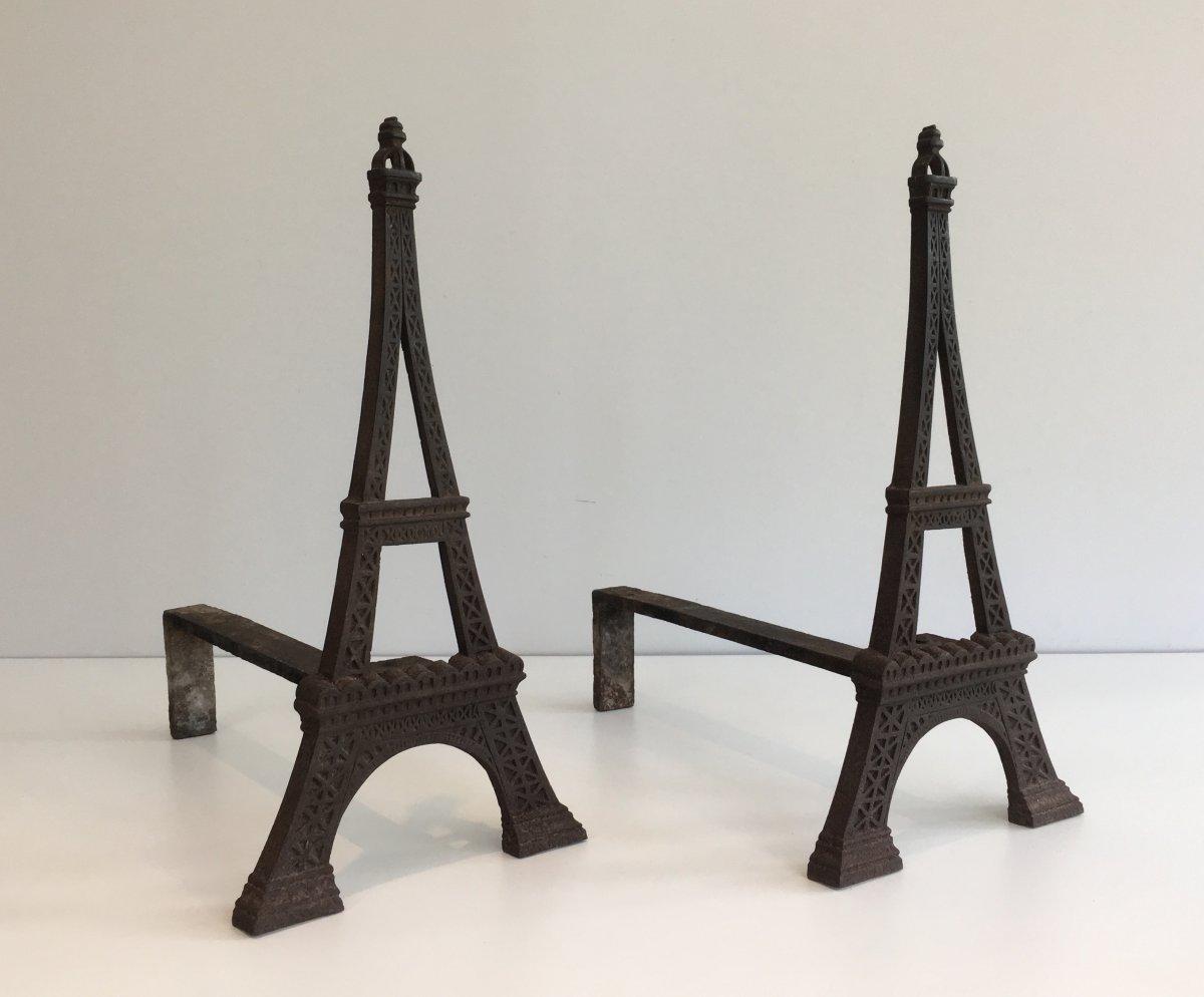 Paire De Chenets Tour Eiffel En Fonte. Vers 1900