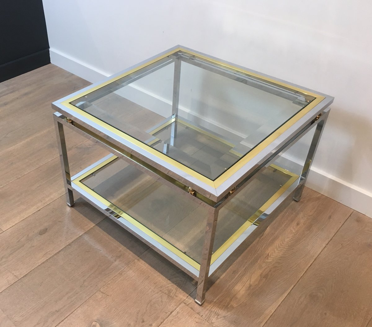 Chrome And Brass Design Side Table. French. Circa 1970