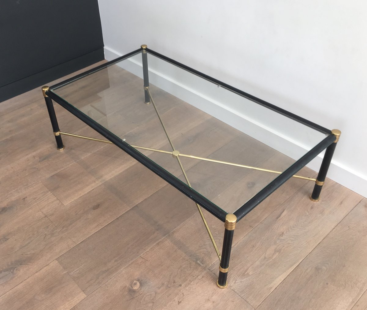 In The Style Of Jacques Adnet. Rectangular Brass And Black Lacquered Coffee Table. French. Circ