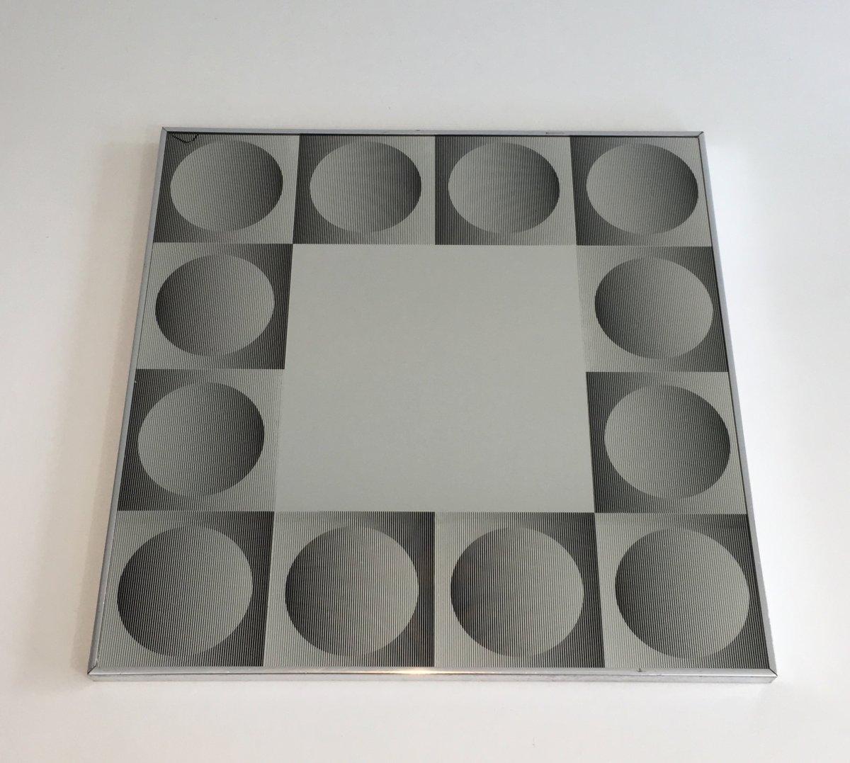 Dans Le Goût De Victor Vasarely. Miroir Art Optique (fêlé Dans Un Angle). Vers 1970