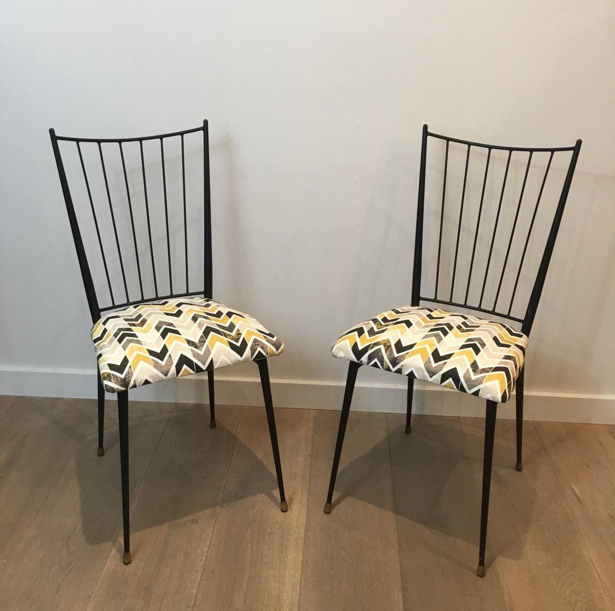 Colette Gueden. Pair Of Black Lacquered Chairs. French. Circa 1950