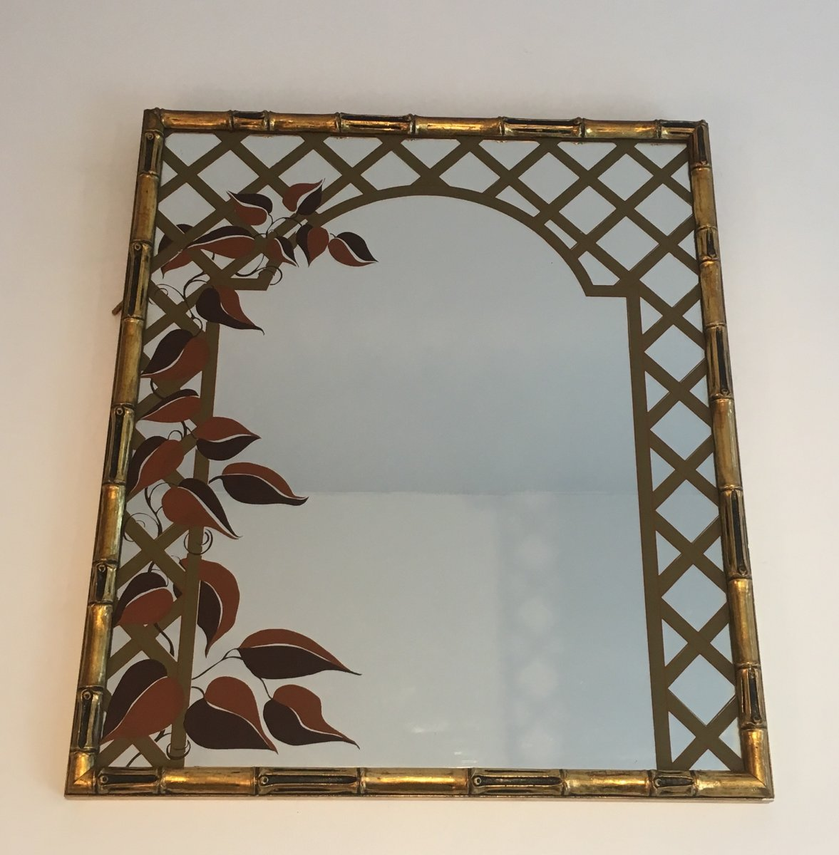 Decorative Faux-bamboo Gilt Wood Mirror With Printed Floral Decor. Circa 1970