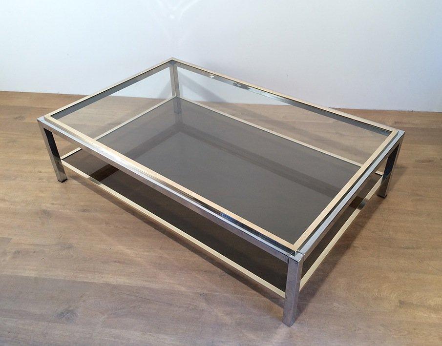 Attribué à Willy Rizzo. Importante Table Basse En Chrome Et Laiton. Vers 1970