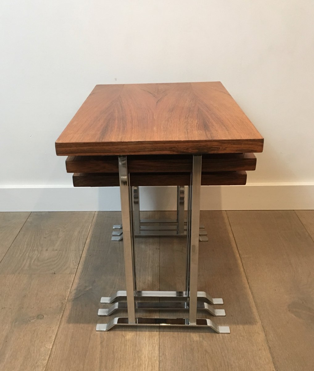Set Of 3 Exotic Wood And Chrome Nesting Tables. French. Circa 1970-photo-1