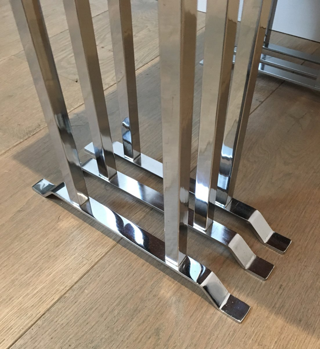 Set Of 3 Exotic Wood And Chrome Nesting Tables. French. Circa 1970-photo-5