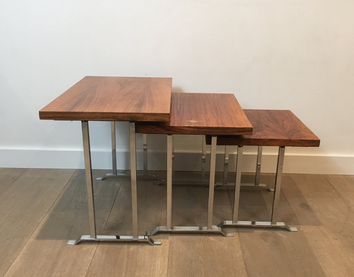 Set Of 3 Exotic Wood And Chrome Nesting Tables. French. Circa 1970-photo-7
