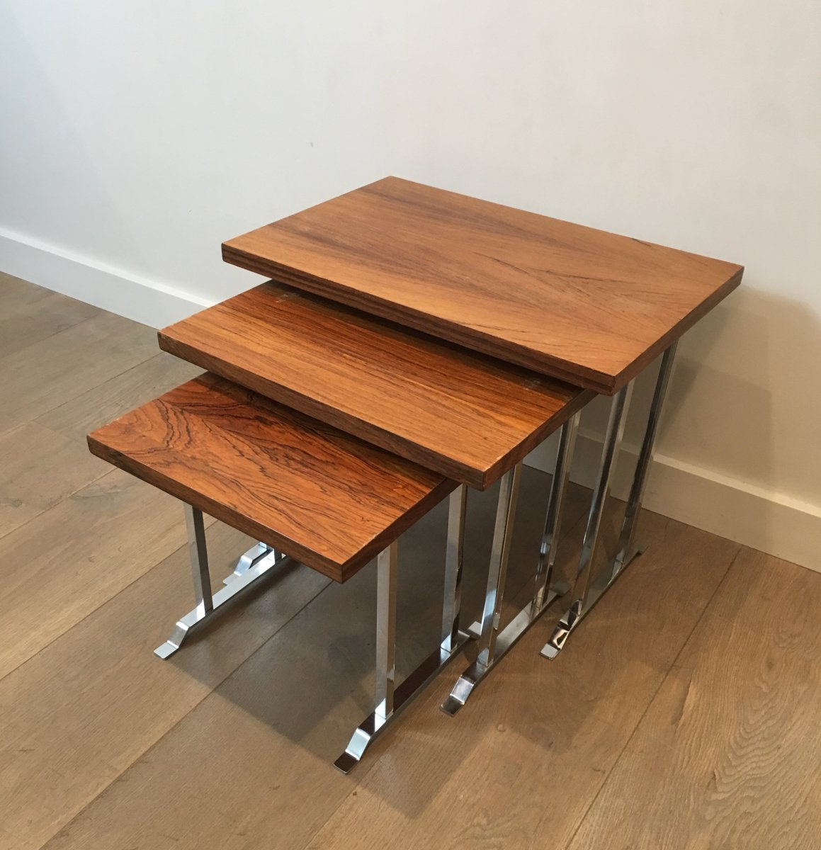 Set Of 3 Exotic Wood And Chrome Nesting Tables. French. Circa 1970