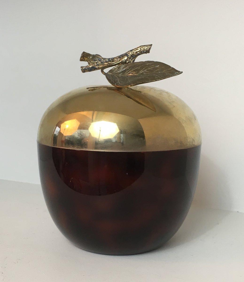 Seau à Glace Pomme En Celuloïde Rouge, Metal Doré Et Plastique. Travail Français. Vers 1970-photo-2