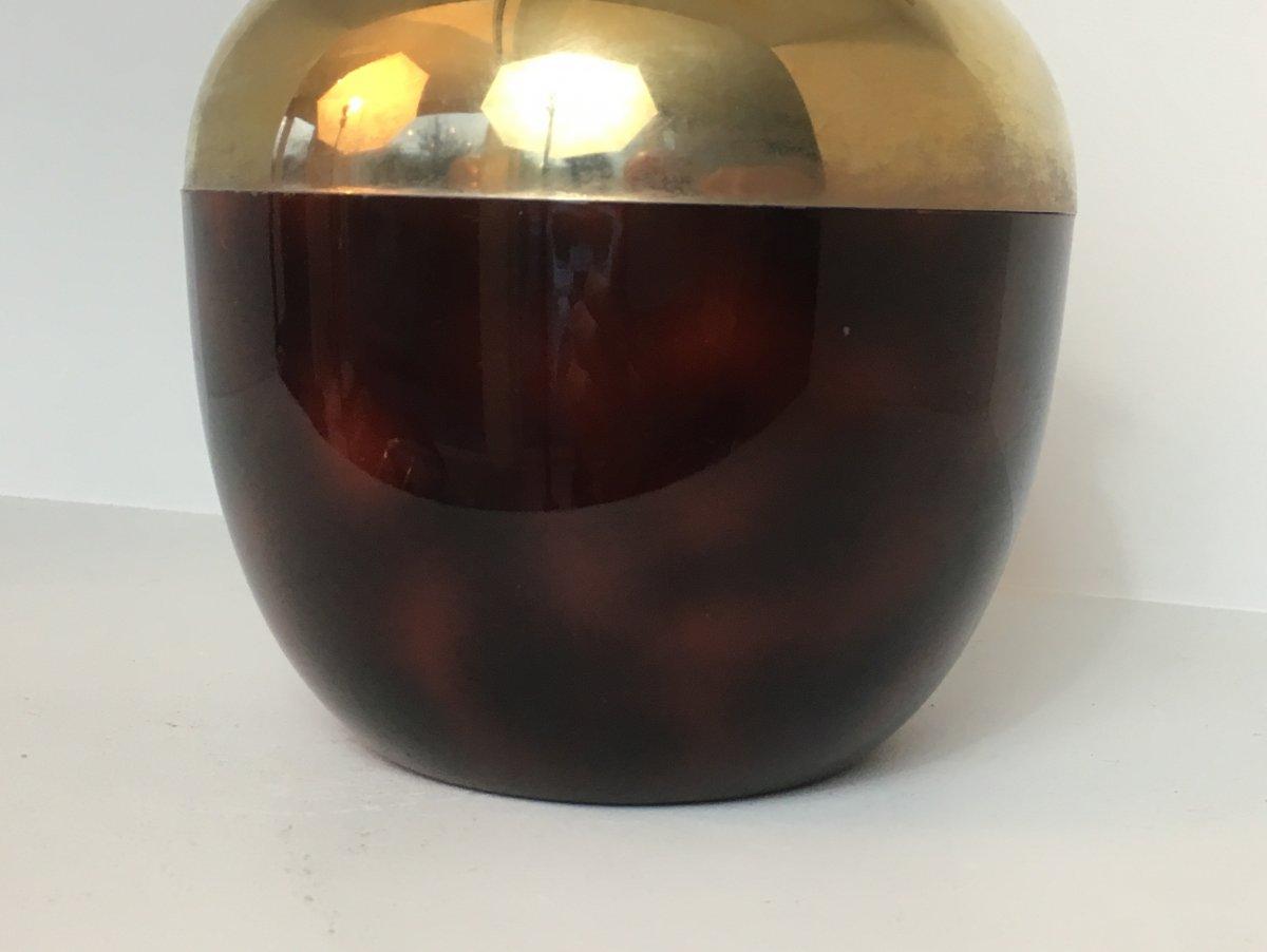 Seau à Glace Pomme En Celuloïde Rouge, Metal Doré Et Plastique. Travail Français. Vers 1970-photo-1
