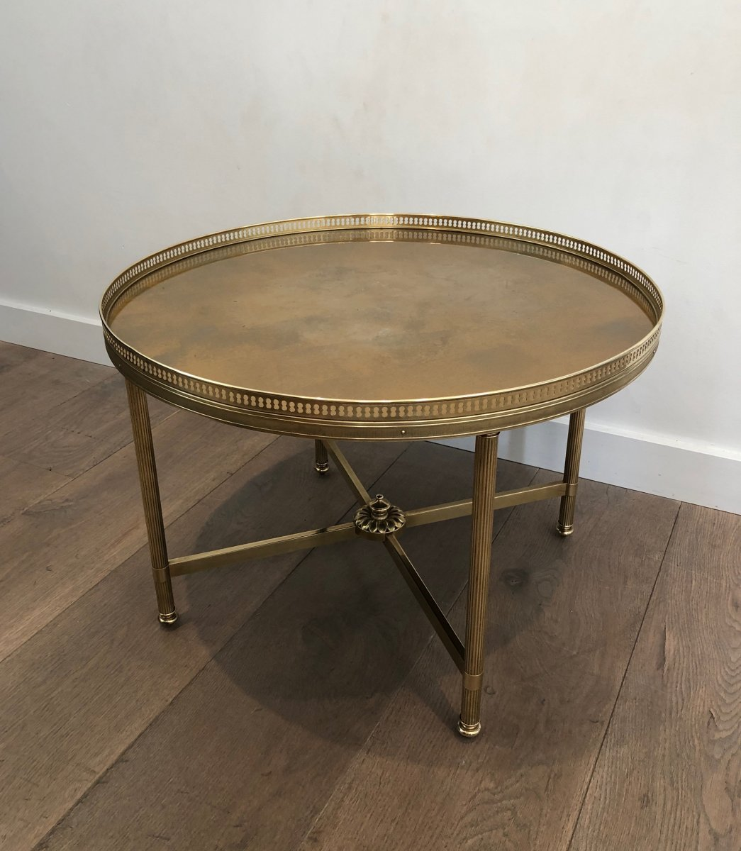 Maison Jansen. Neoclassical Style Small Round Brass Coffee Table With Gold Top. French. 1940's-photo-3