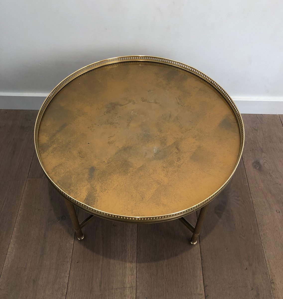 Maison Jansen. Neoclassical Style Small Round Brass Coffee Table With Gold Top. French. 1940's-photo-1