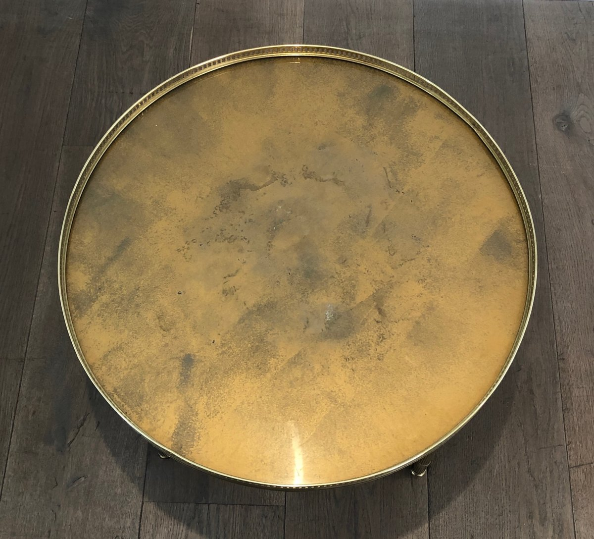 Maison Jansen. Neoclassical Style Small Round Brass Coffee Table With Gold Top. French. 1940's-photo-2