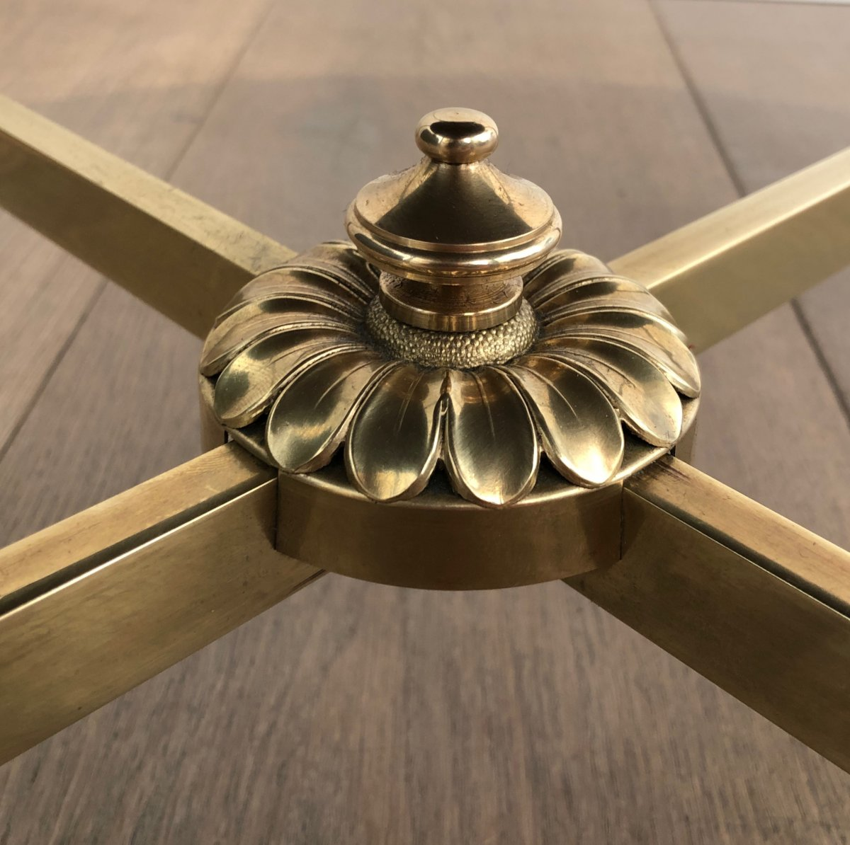 Maison Jansen. Neoclassical Style Small Round Brass Coffee Table With Gold Top. French. 1940's-photo-4