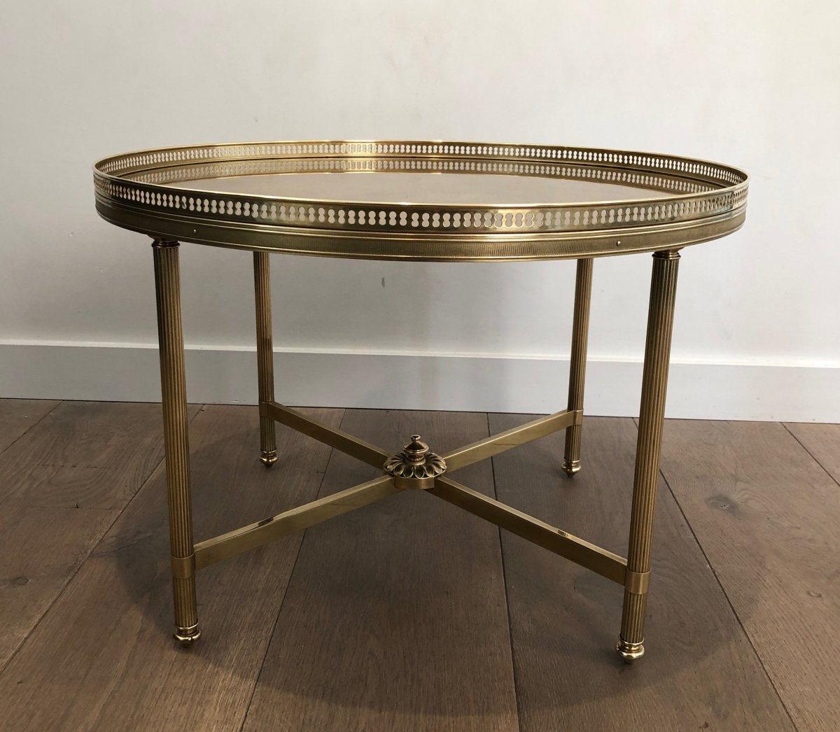 Maison Jansen. Neoclassical Style Small Round Brass Coffee Table With Gold Top. French. 1940's-photo-8